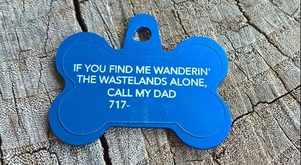 Example of blue colored dog tag funny