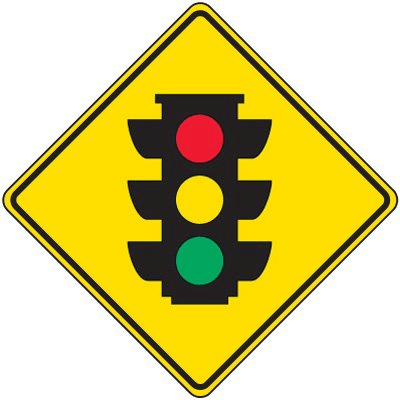 Different colors on warning sign road