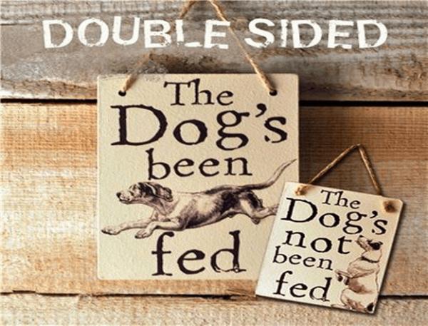 double sided warning sign dog