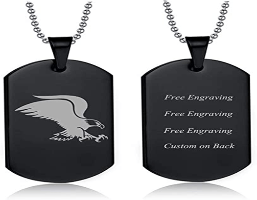 Dog tag for men with engraving on both sides