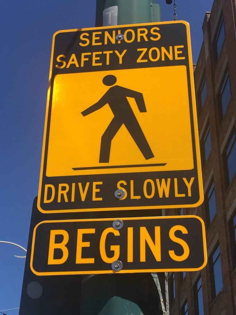 Elderly zone safety sign