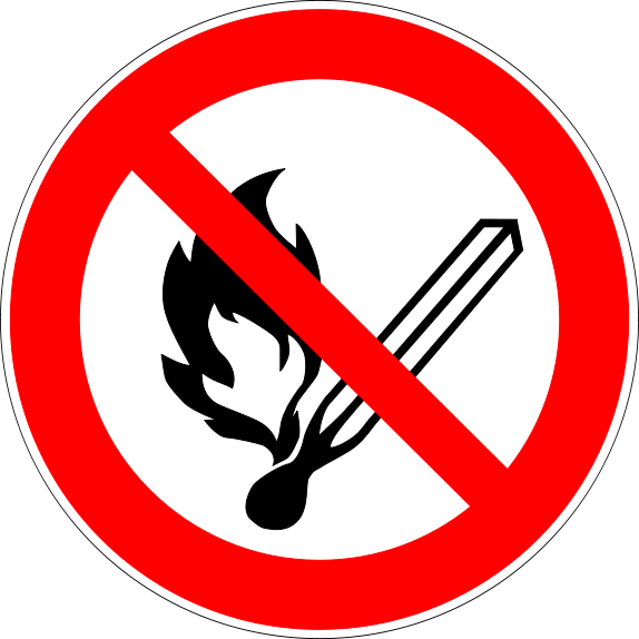 No open flames safety symbols lab