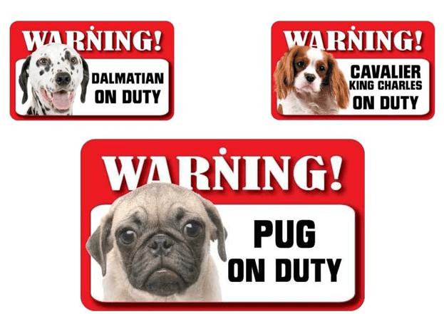 Pet dog warning sign