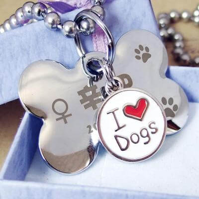 shows an example of an engraved image on a dog tag personalized.
