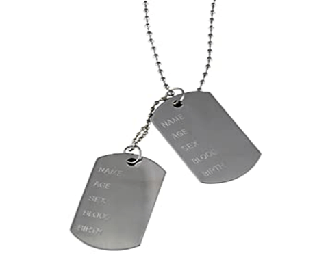 Example of dog tag for men with engraving