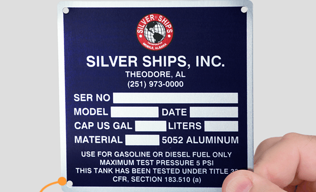 Aluminum metal nameplate with rounded corners