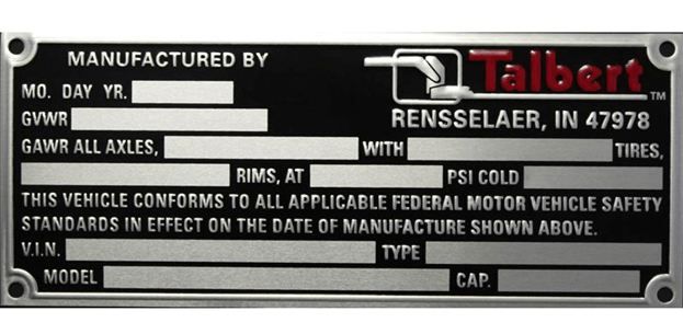Example of metal nameplate for vehicle