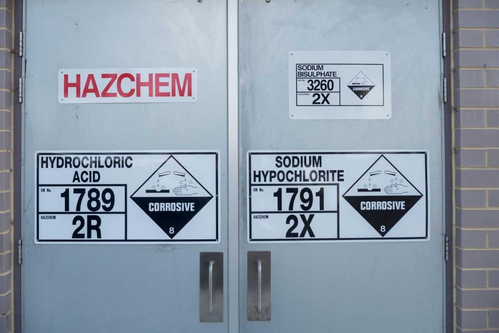 Safety signs and symbols on machine