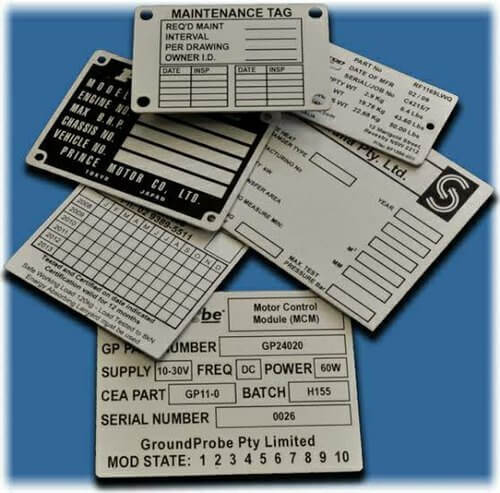 Example of Asset Tags Aluminum with Anodized Numbering