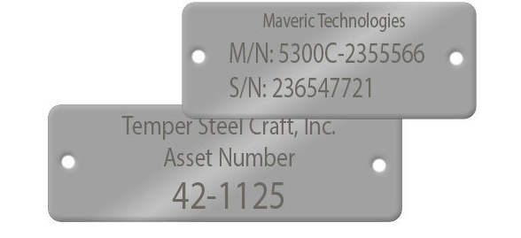 Metal nameplate with screw holes